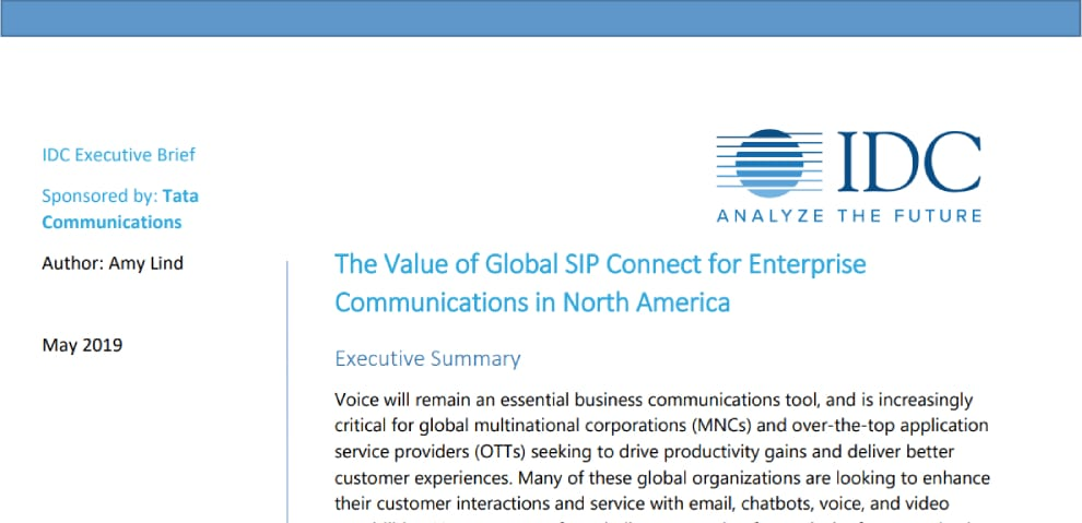 The Value of Global SIP Connect for Enterprise Communications in North America