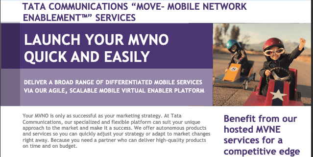 Tata Communications MOVE™ – MVNE Services: Launch your MVNO quick and easily