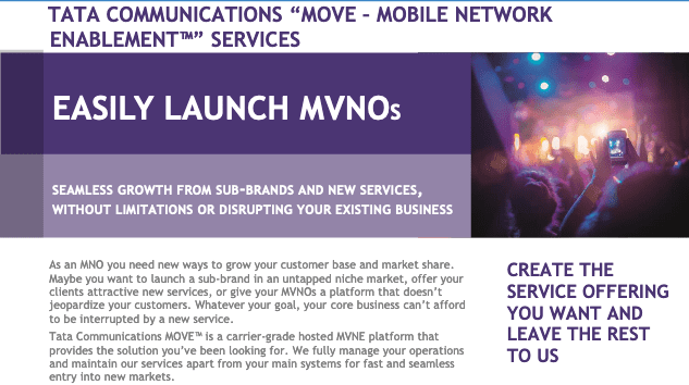 Tata Communications MOVE™ - MVNE Services: easily launch MVNOs